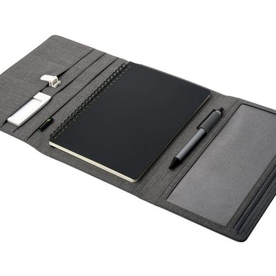 Light gray professional tri-fold notebook organizer opened layout with one notebook pen pvc storage pocket