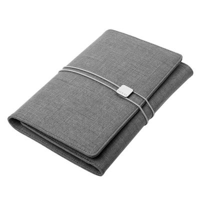 Light gray professional tri-fold notebook organizer with silver elastic closure band one notebook