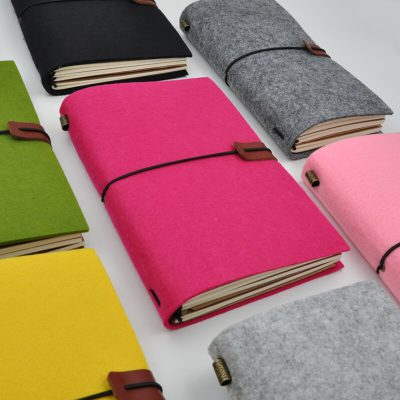 Handmade felt refillable journal pink green yellow grey flat lay