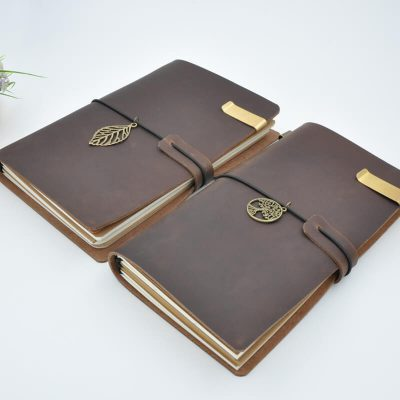 Brown vintage leather refillable journal with charm two notebooks leaf tree charms two notebooks