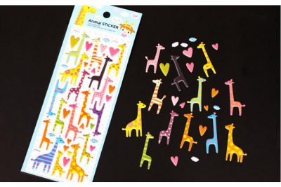Giraffe Animal Puffy Stickers Flatlay