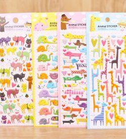 Animal Puffy Stickers Four Options Cats Elephants Dogs Giraffe