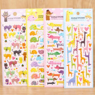 Animal Puffy Stickers Four Options Cats Elephants Dogs Giraffe