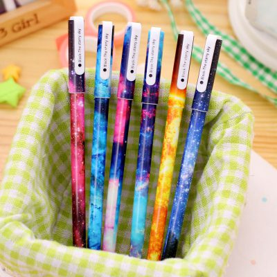 6 Starry Sky Gel Pens In Basket