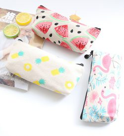 Summer Vibes Canvas Pencil Cases Flatlay On White Background