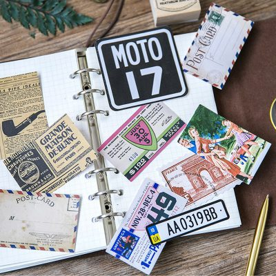 Decorative Vintage Stickers Inside Binder Notebook