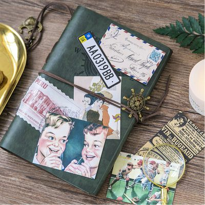 Decorative Vintage Stickers On Notebook Cover