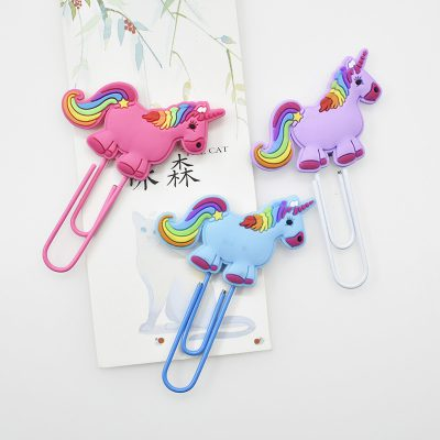 3 Rainbow Unicorn Paperclips Side By Side