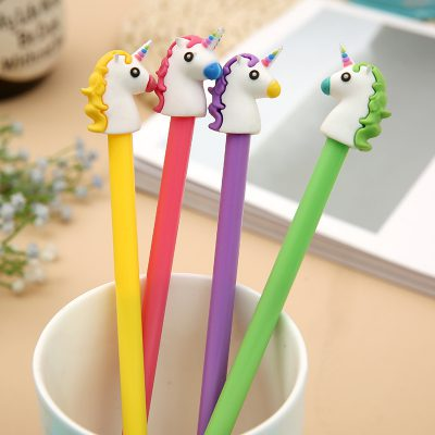 4 Unicorn Gel Pens In A Cup