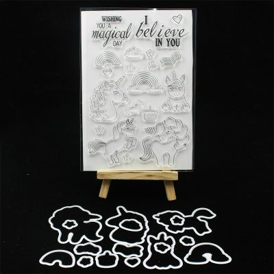 Happy Unicorn Silicone Stamp Set With Die Cuts
