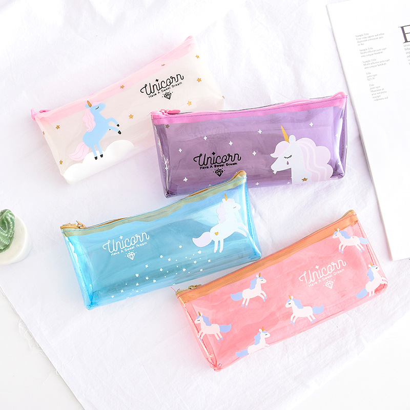 Unicorn Transparent Pencil Case Four Options