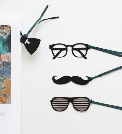 Hipster Party Bookmark Flat Lay