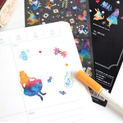 Alice in Wonderland Stickers In Planner